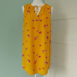 Old Navy Bright Yellow Floral Shift Dress